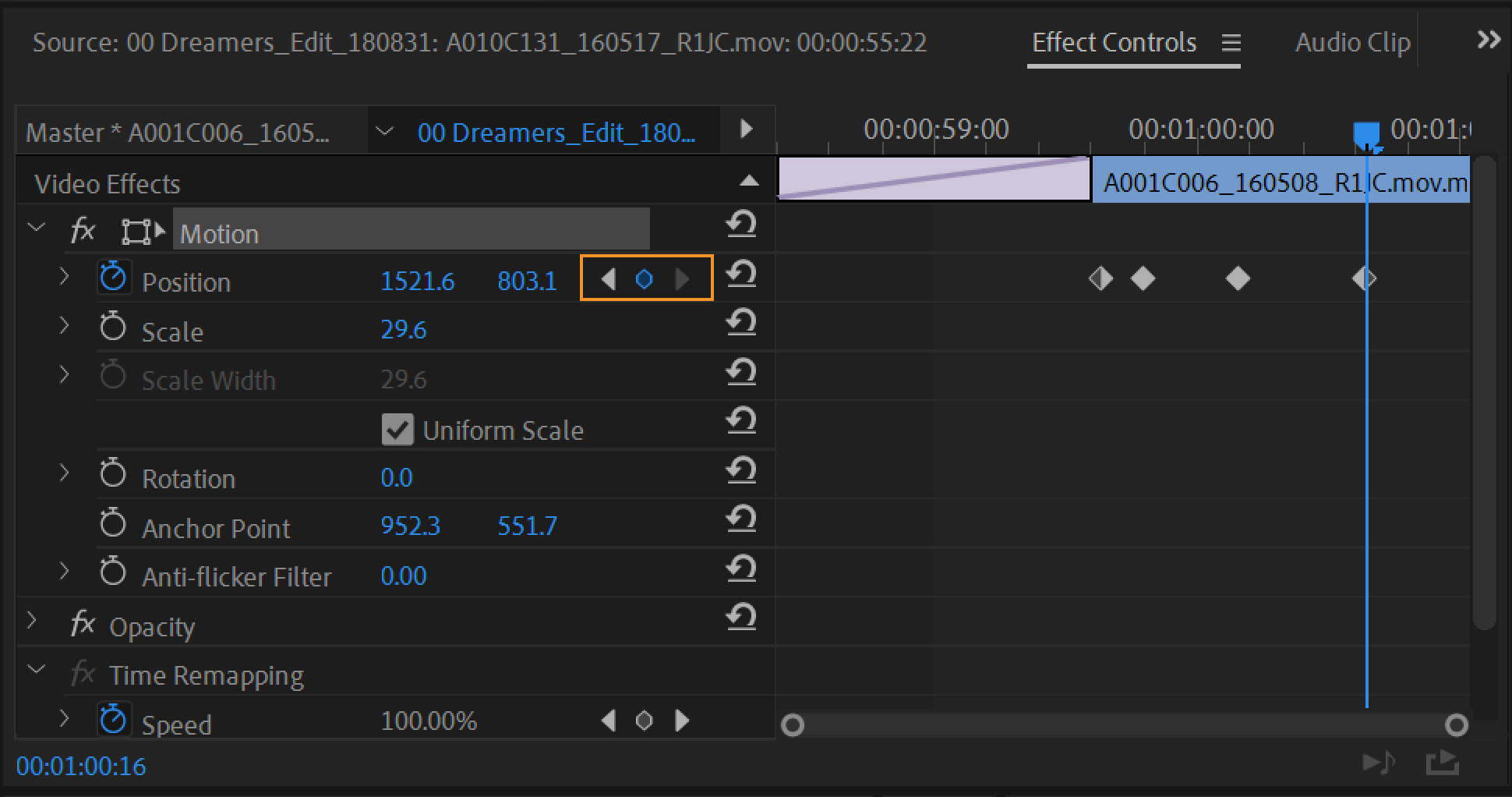 Use Motion effect to edit and animate clips