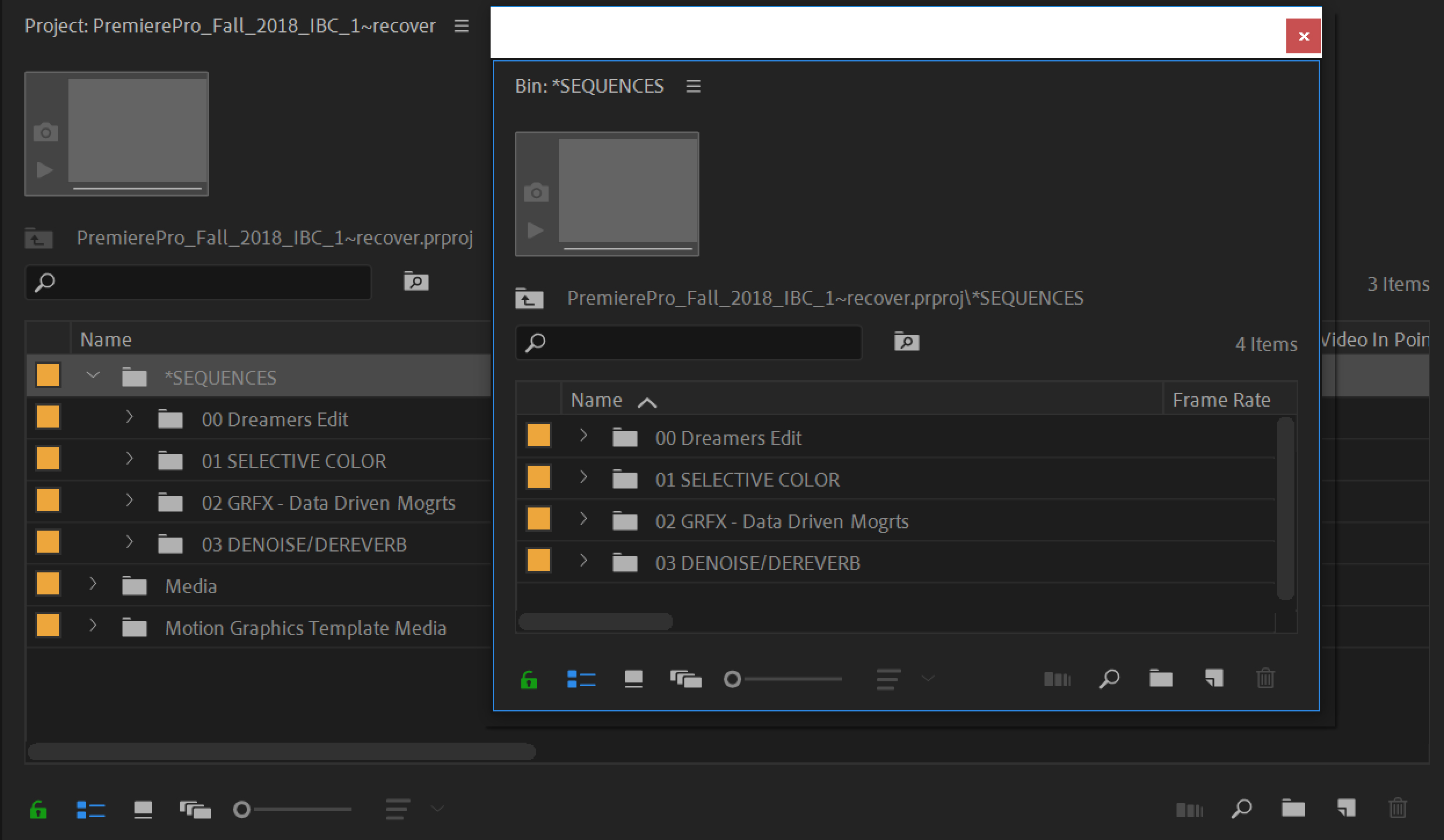 Organizing assets in the Premiere Pro Project panel