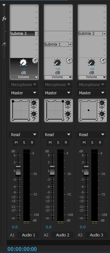 Panning and balancing controls for a 5.1 track