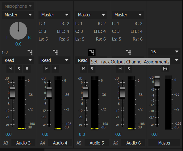 Track Output Channel Assignments button in the Audio Track Mixer