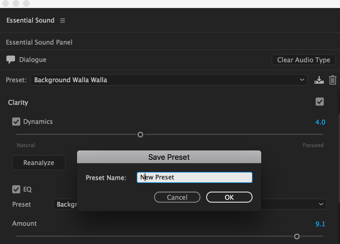 Saving your new preset settings