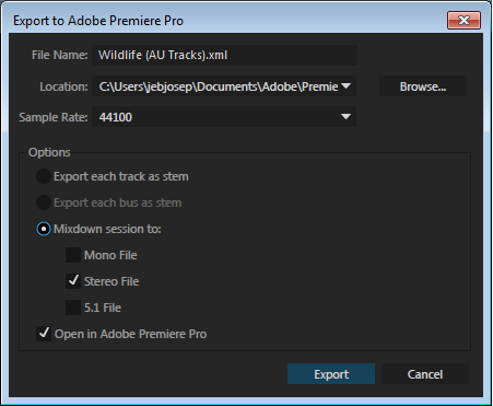 Export to Premiere Pro dialog box