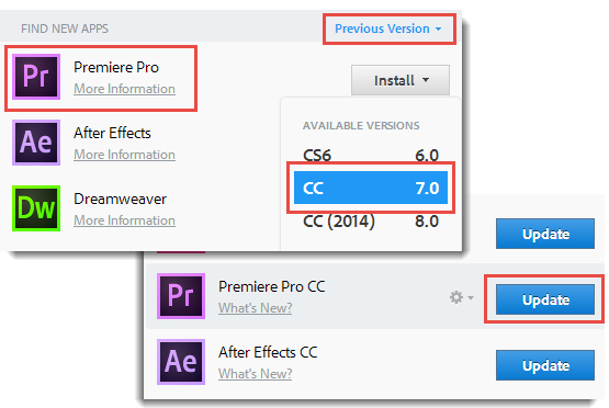 Installing Premiere Pro CC 7.2.2 using Creative Cloud for desktop