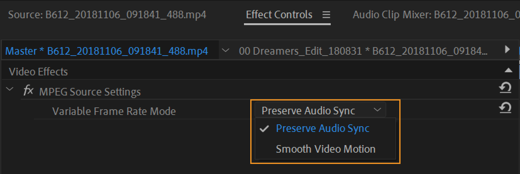 Audio-video sync options for VFR footage
