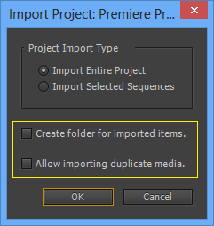 Import Project dialog