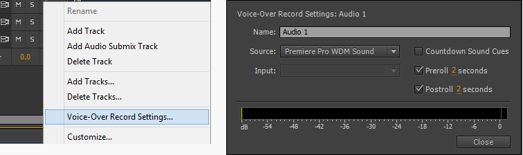 Choosing voice-over recording settings