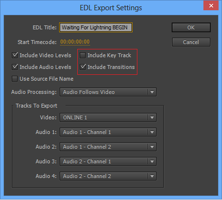 EDL Export Settings dialog