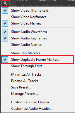 Show duplicate frame markers