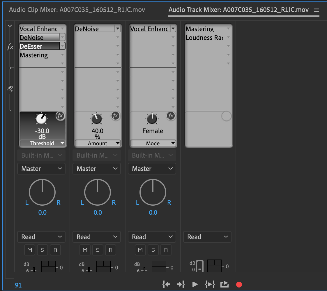 Effects in the Audio Track Mixer