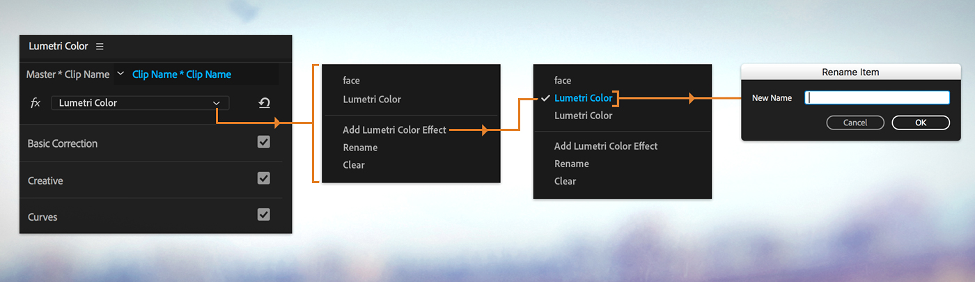 Create and edit multiple Lumetri color effects