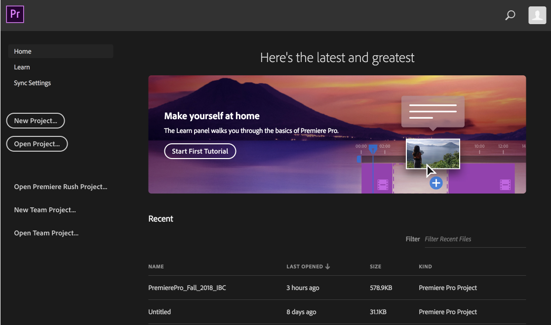 The Premiere Pro home screen when you first launch it