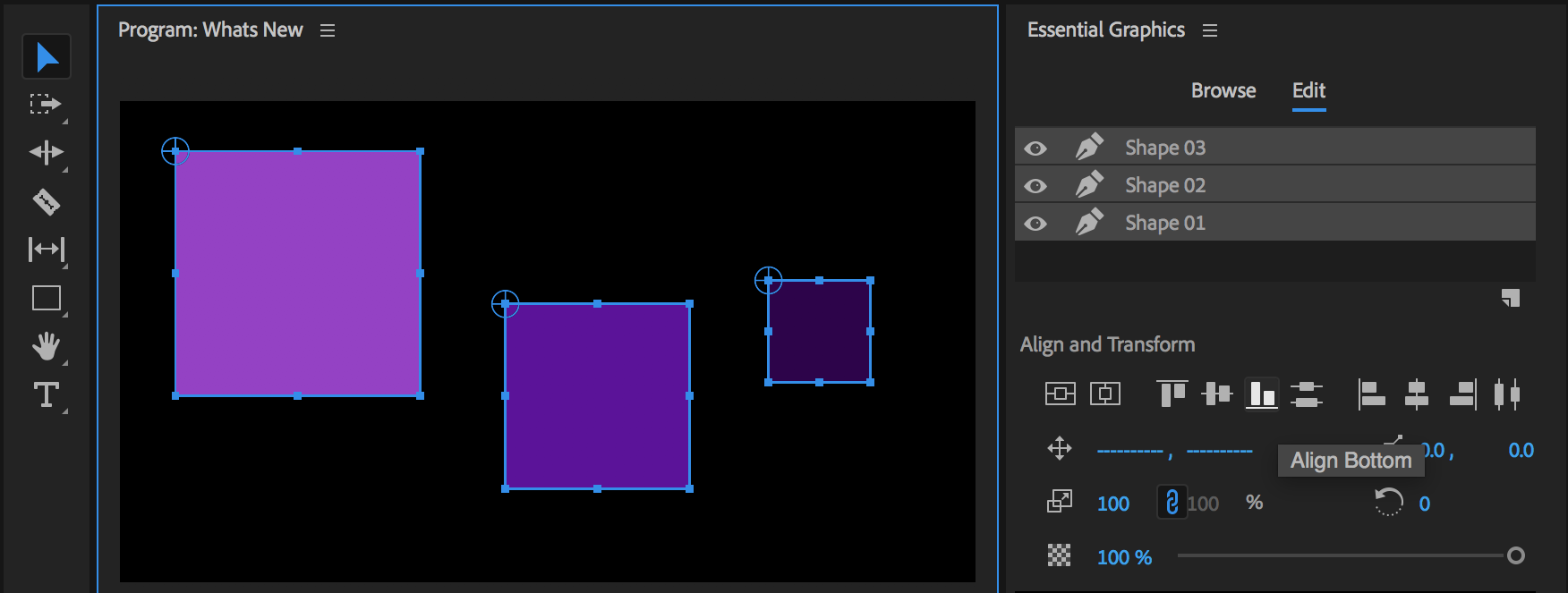 Options to align and distribute layers in the Essential Graphics panel