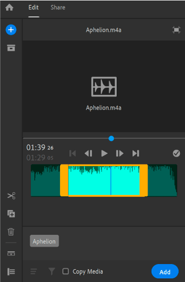Add a selected portion of the audio clip