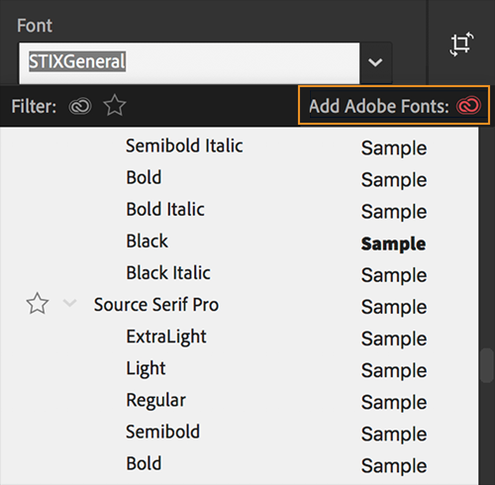 Add fonts from Adobe Fonts