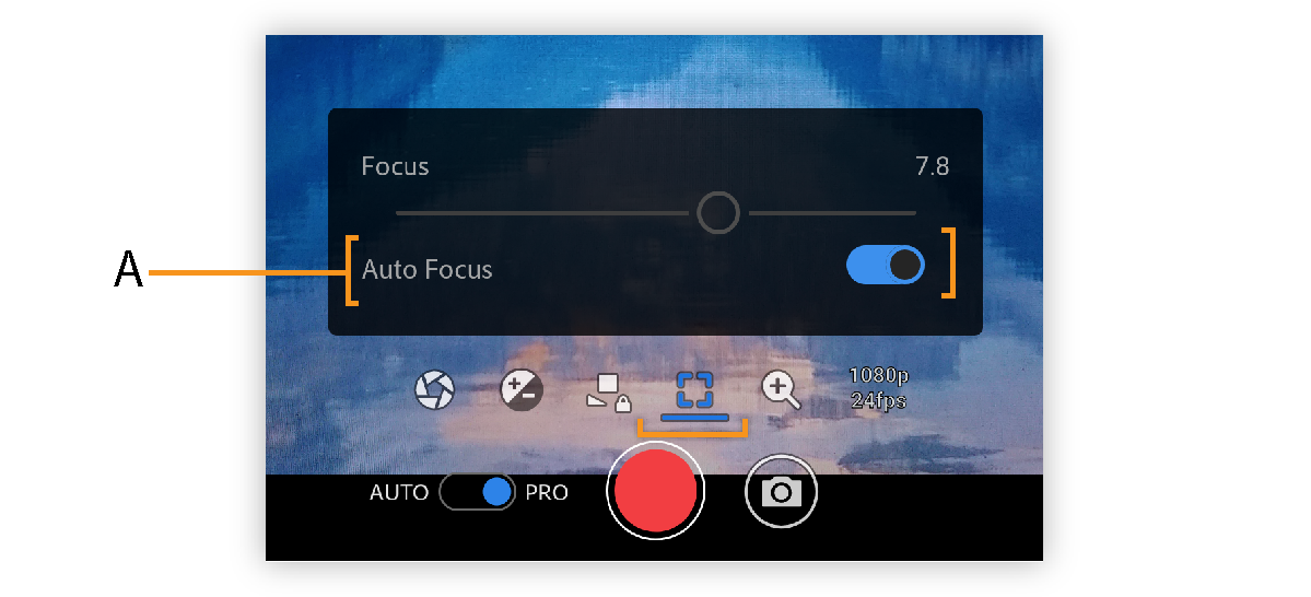 PRO focus options in Premiere Rush