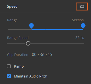 Remove speed adjustments from a clip