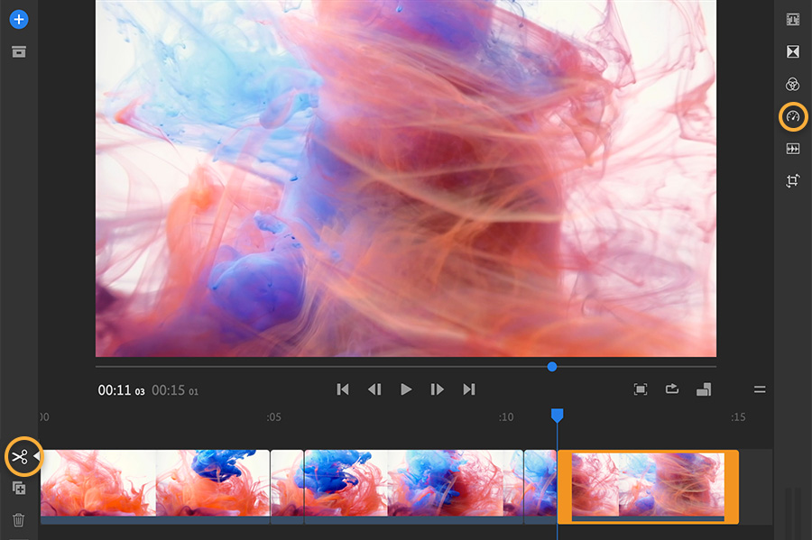 Adobe Stock video cut in smaller clips on Adobe Premiere Rush timeline.