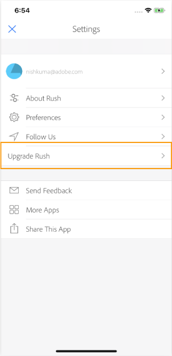 The Settings menu in the Premiere Rush app