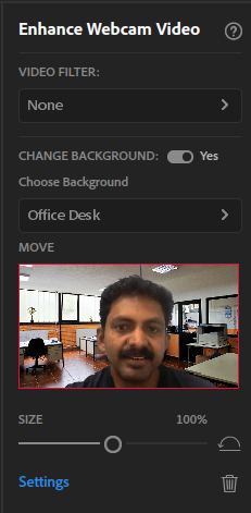 Enhance webcam video