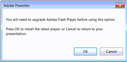 Presenter- Unable to publish to Flash