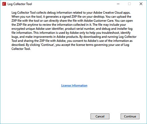 Creative Cloud Log Collector tool licensing information: Windows