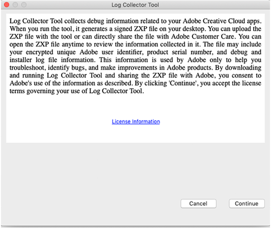 Creative Cloud Log Collector tool licensing information: macOS