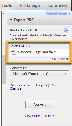 Export selected PDF