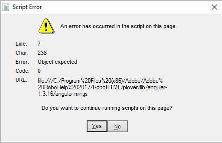 Script errors in a RoboHelp project