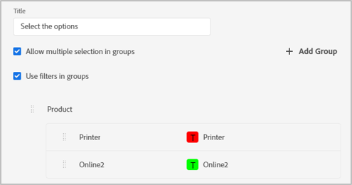 New filter groups