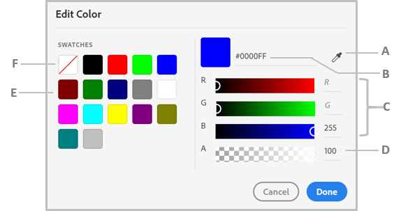 The color picker dialog box