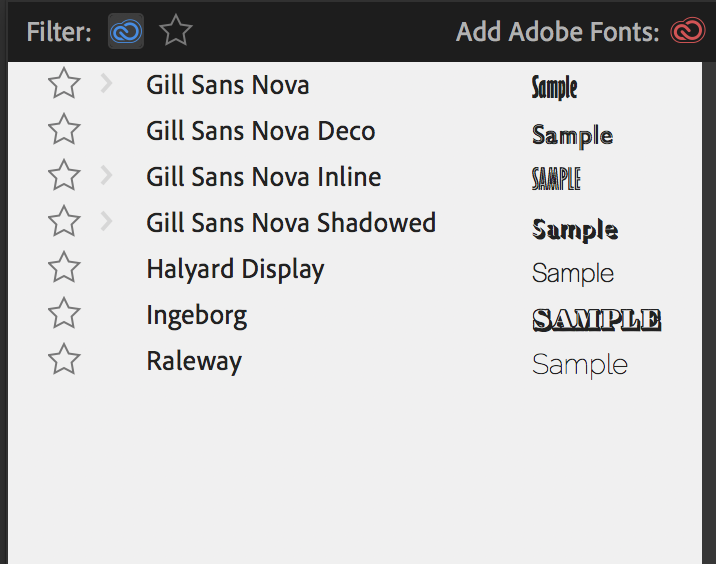 Filtering to display only fonts from Adobe Fonts