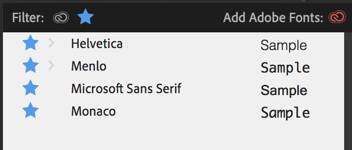 Filtering to display only the fonts that you have marked as a favorite