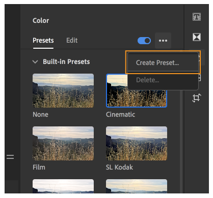 Creating your custom color presets