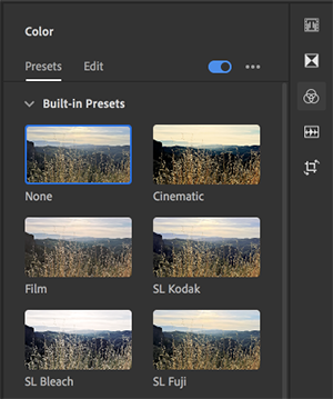 Select a preset from the Presets tab of the Color panel