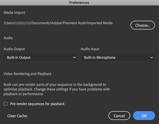 Set preferences in Premiere Rush