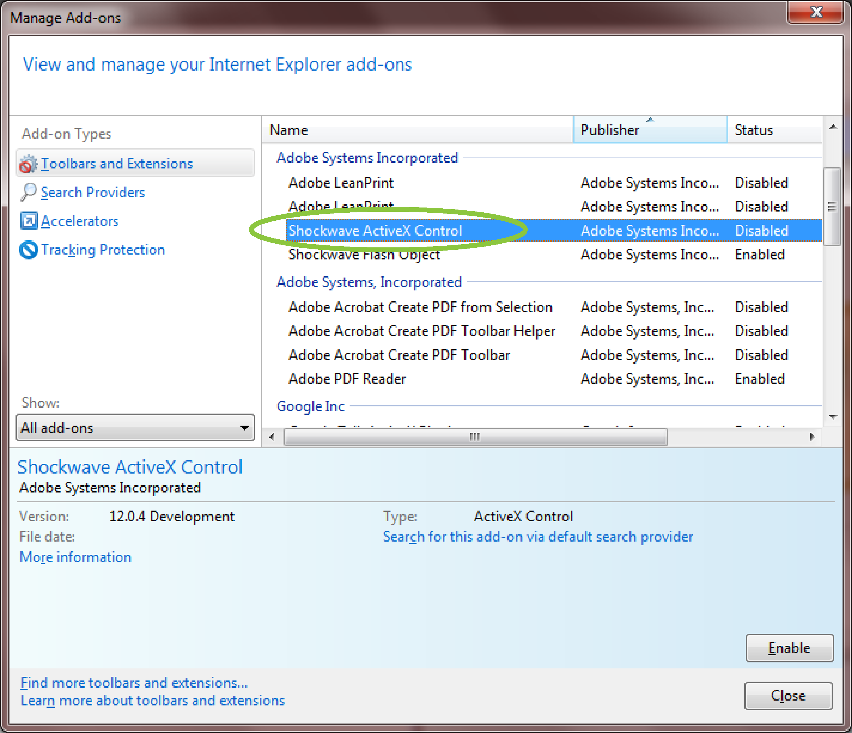 Manage Add-Ons dialog box, if Shockwave ActiveX Control is Disabled, highlight it