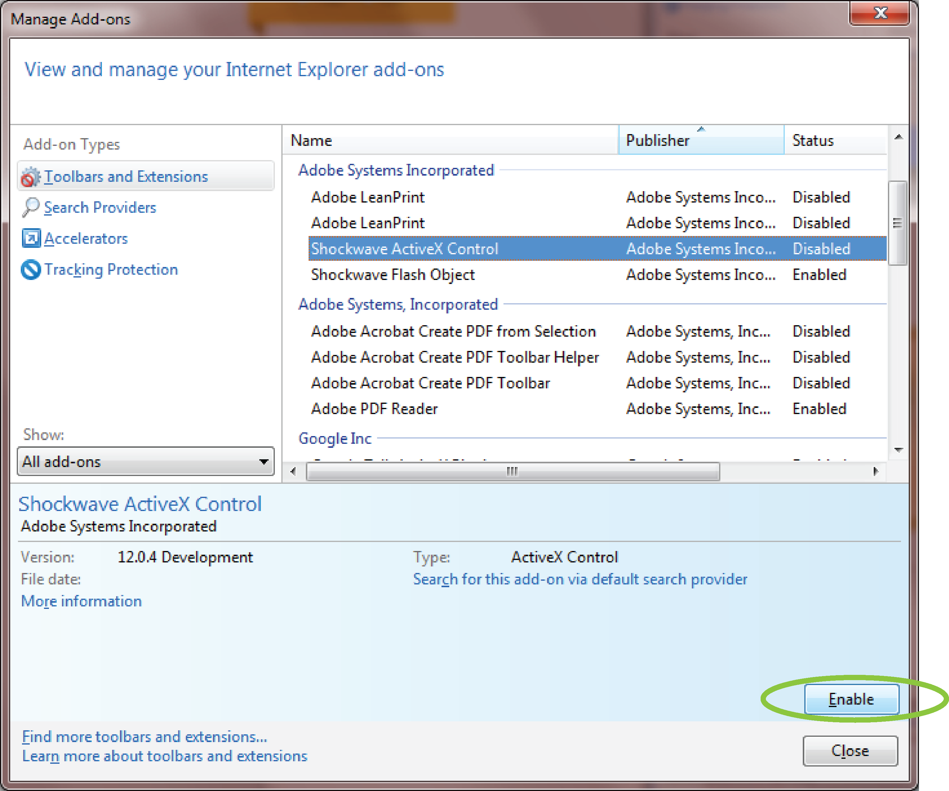 Manage Add-ons dialog box, with Shockwave ActiveX Control highlighted, click Enable