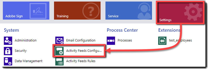 Navigate to Mail > Settings > Activity Feeds Configuration