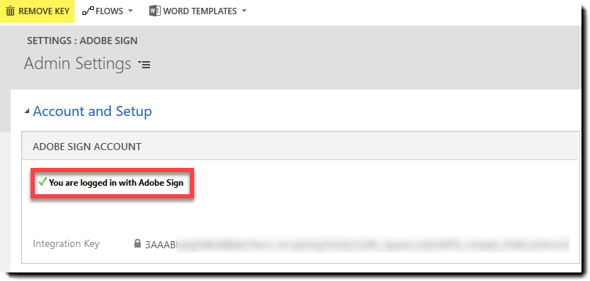The Adobe Sign Configuration page