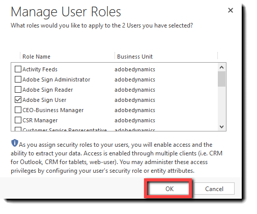 The Manage User Roles pop-up