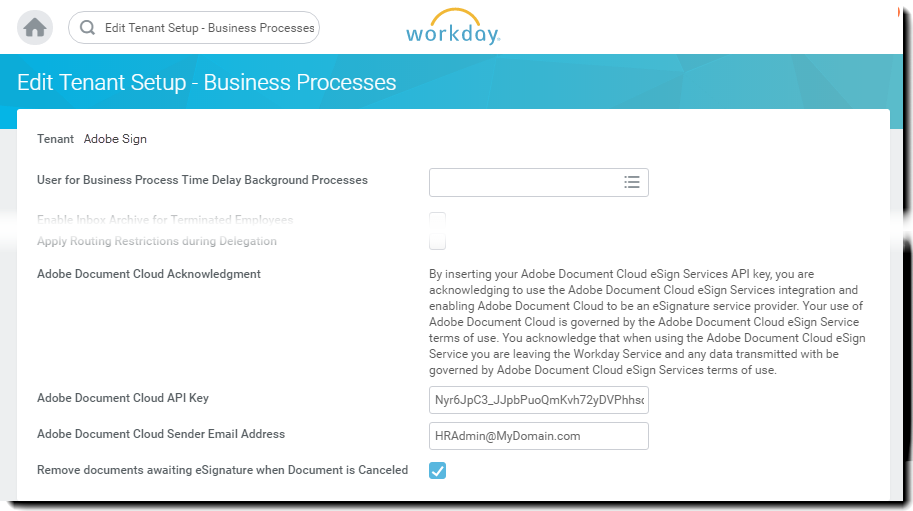 The Edit Tenant Setup - Business Processes page