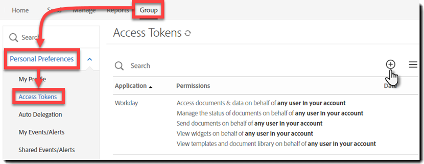 Image of the navigation to the Access Tokens page