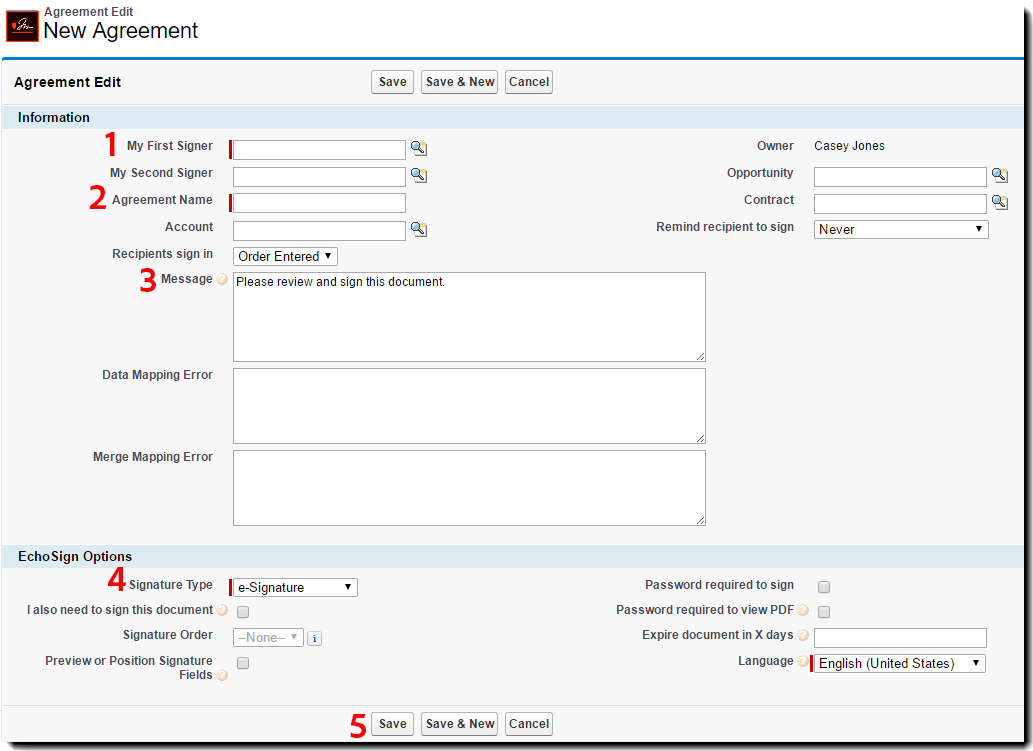 The Basic Agreement configuration page