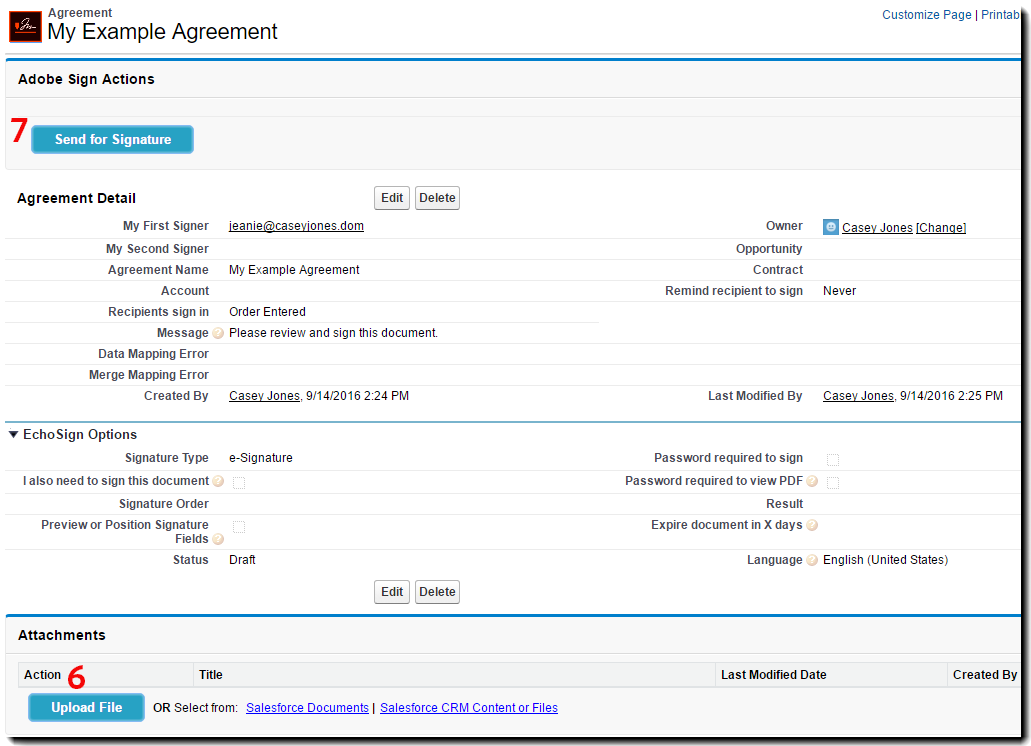 Configured Agreement ready to attach document