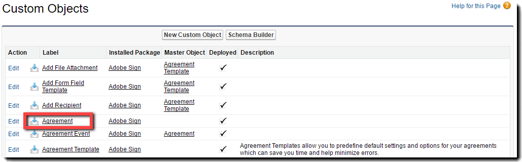 Custom Object - Agreement Label