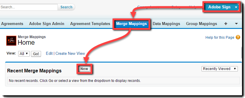 New Button On The Merge Mapping Page