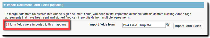 The number of fields imported will be displayed.