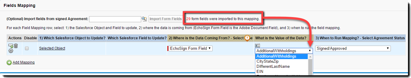Click the Import Form Fields button