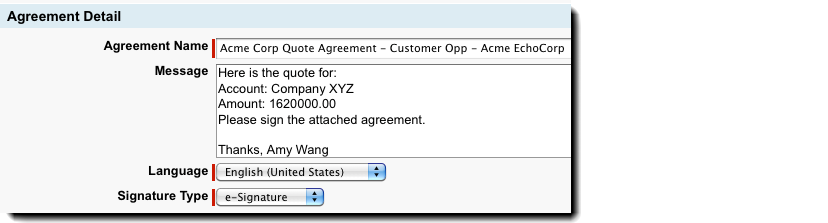 The Agreement gets generated from a specific Opportunity