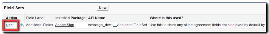 Field Sets Edit button